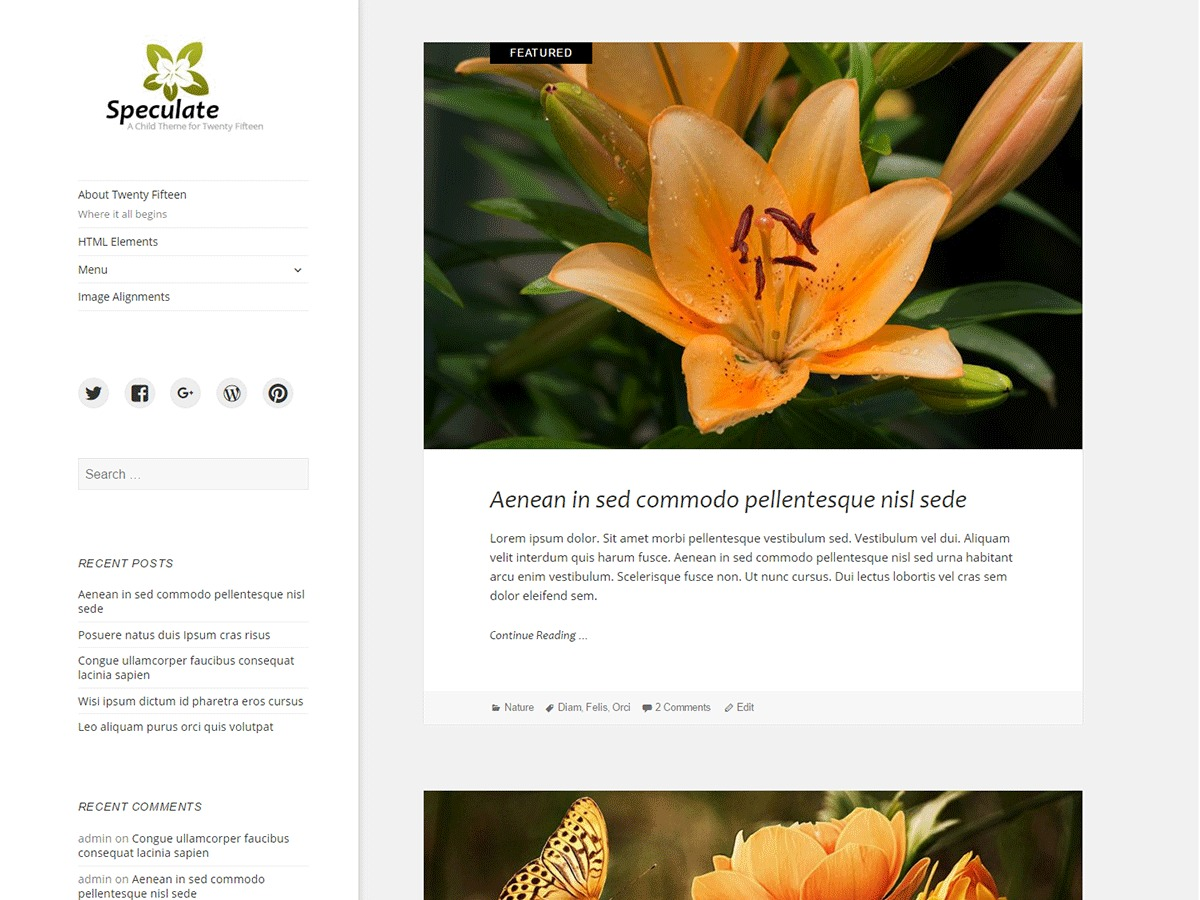 Speculate free WordPress theme