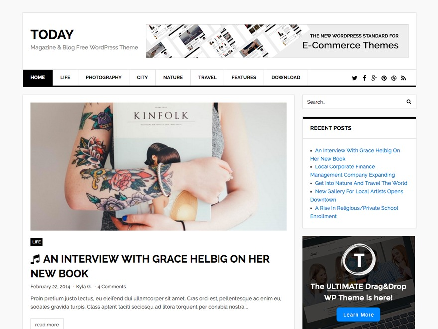 Today WordPress ecommerce theme