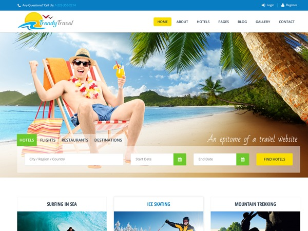 Trendy Travel WordPress hotel theme