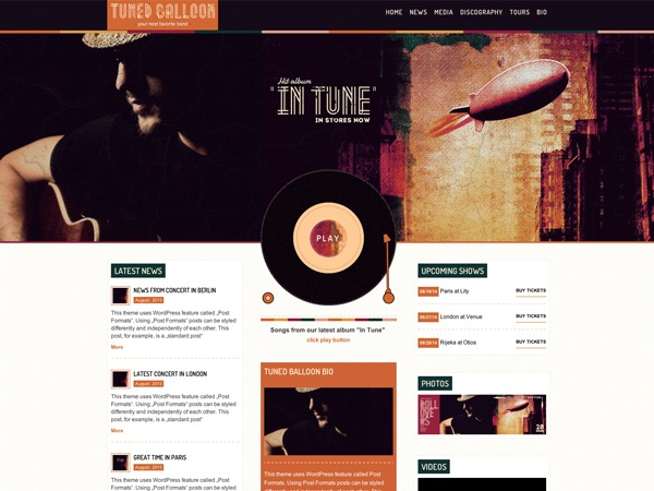 Tuned Balloon WordPress Theme best WordPress gallery