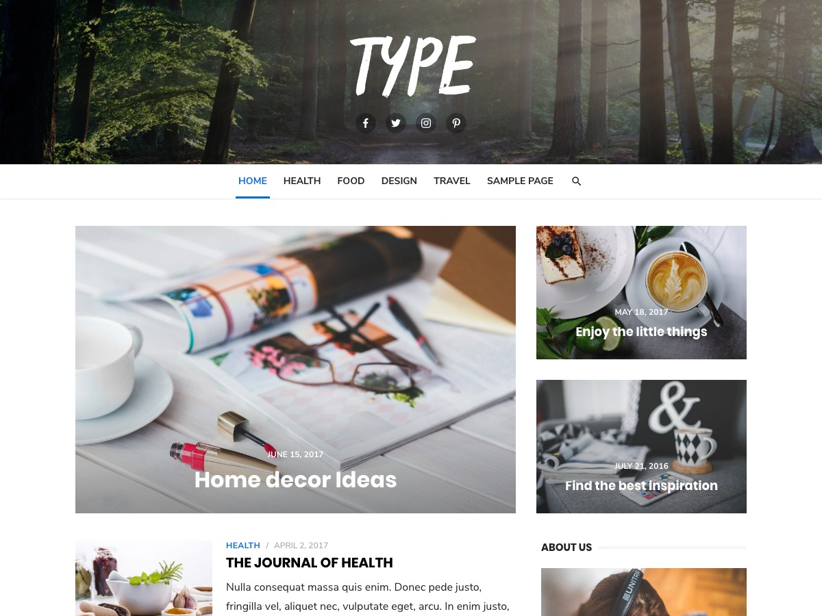 Type WordPress shop theme