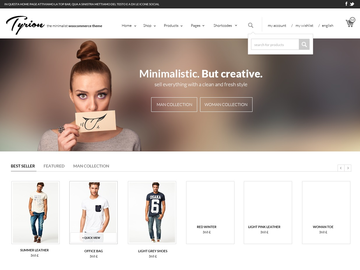 Tyrion WordPress shop theme