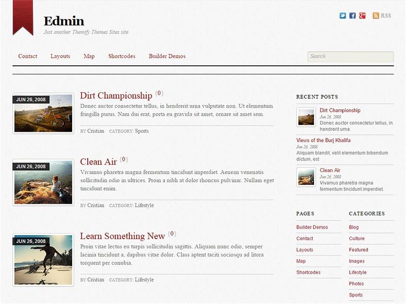 WordPress template Themify Edmin