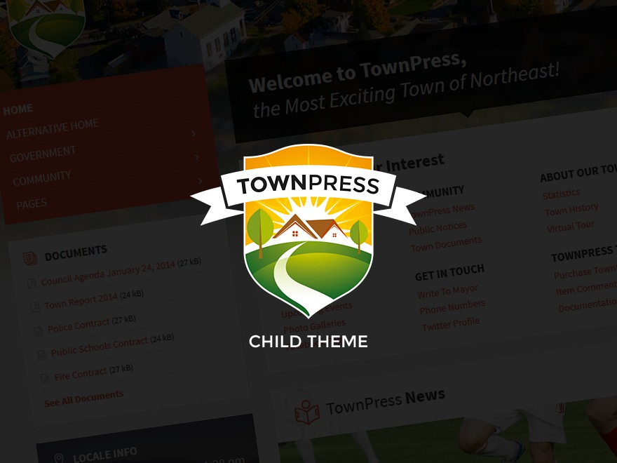 WordPress website template TownPress Child