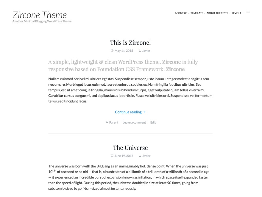Zircone free website theme