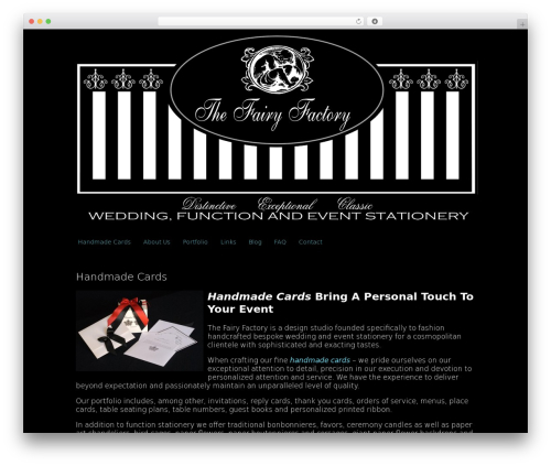 Clean Black WordPress wedding theme - thefairyfactory.co.za
