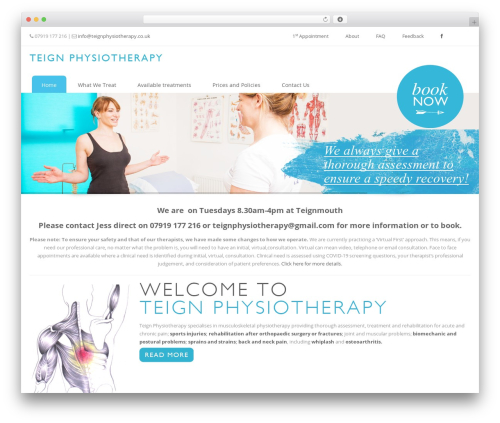 Eross top WordPress theme - teignphysiotherapy.co.uk