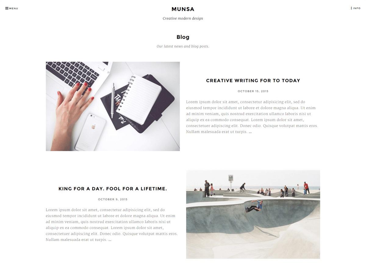 Munsa WordPress blog theme