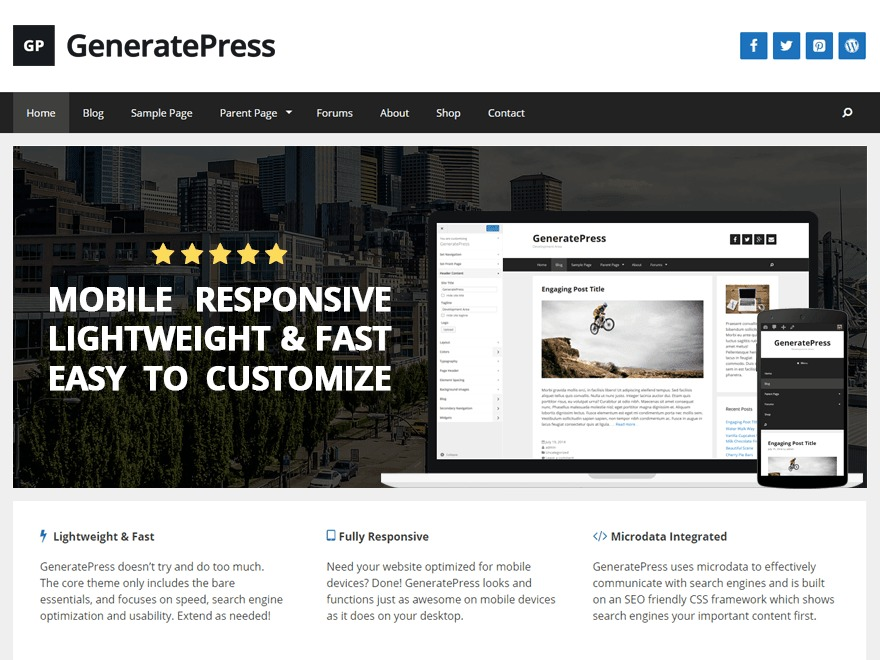 WebEbreGeneratePress WordPress shopping theme