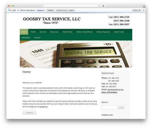 Customized business WordPress theme - goosbytax.com