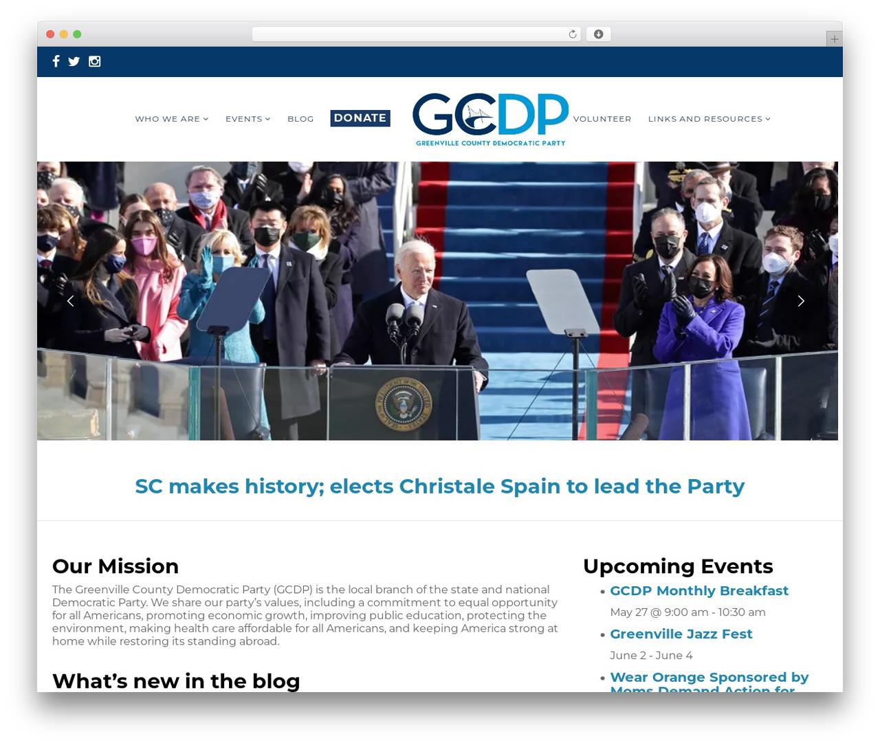 Politist WordPress theme - greenvilledemocrats.com