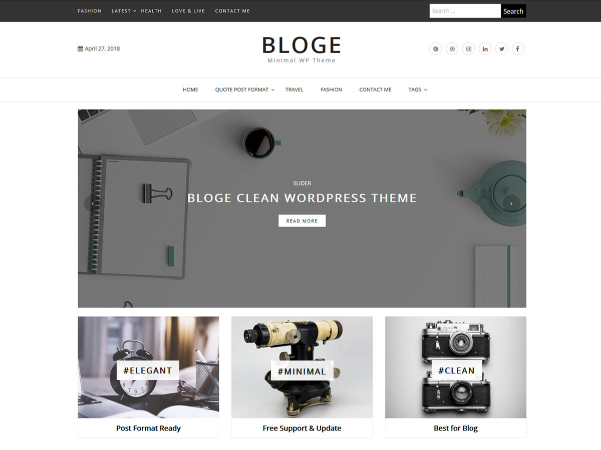 Bloge WordPress magazine theme