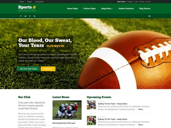 Sport WordPress page template