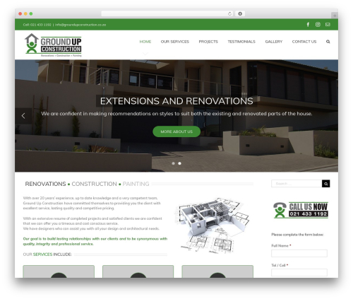 Avada WordPress theme - groundupconstruction.co.za
