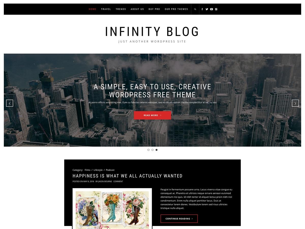 Infinity Blog company WordPress theme
