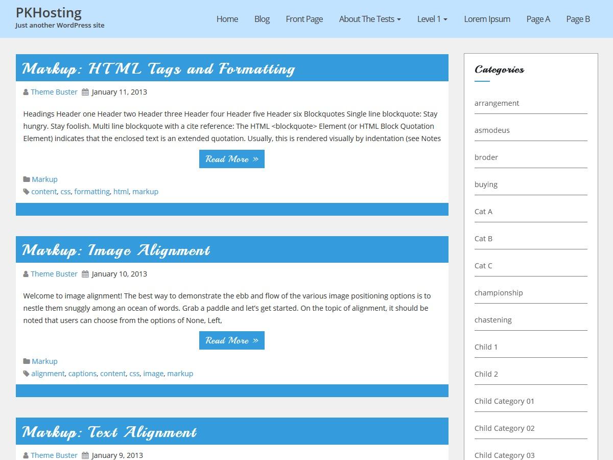 PKHosting WordPress blog template