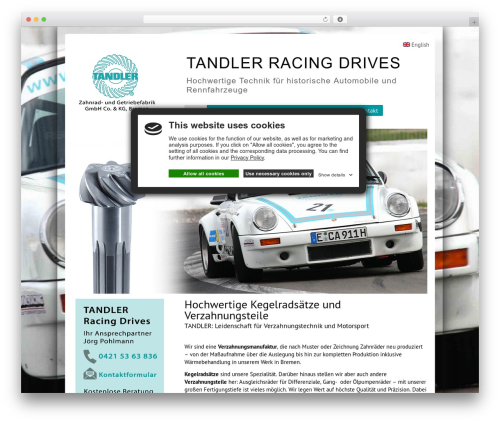 BizStudio Lite best free WordPress theme - tandler-racing-drives.com