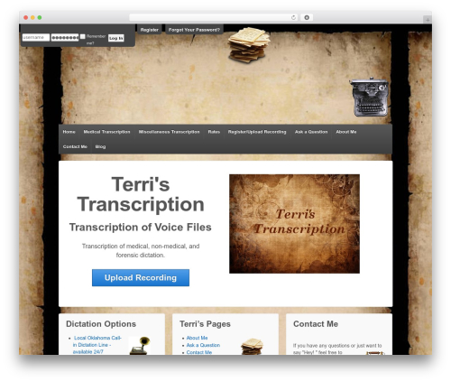 Responsive free WP theme - terristranscription.com