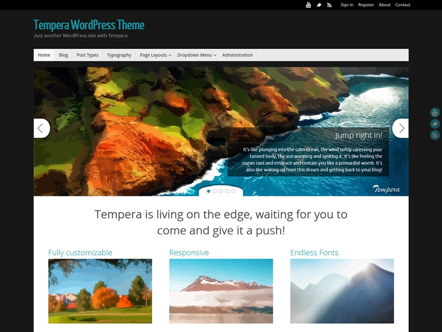 WordPress template tempera-child