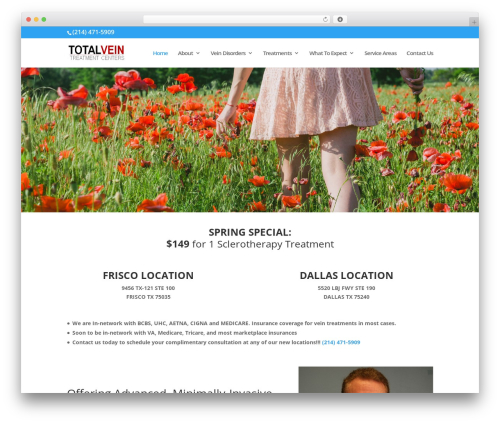 WordPress theme Divi - totalveintreatmentcenters.com