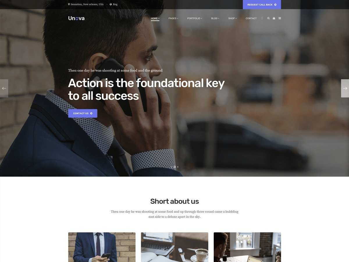 Unova business WordPress theme