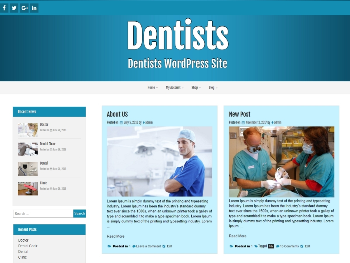 Dentists WordPress theme design