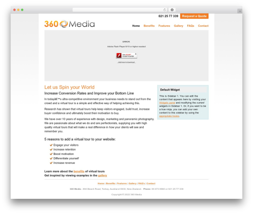 Thesis WordPress template for photographers - 360media.co.nz