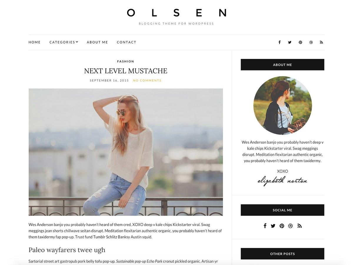 Olsen Light Child WordPress blog template