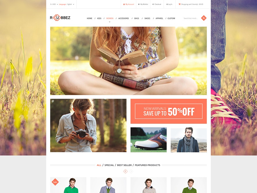 Rubbez theme WordPress portfolio