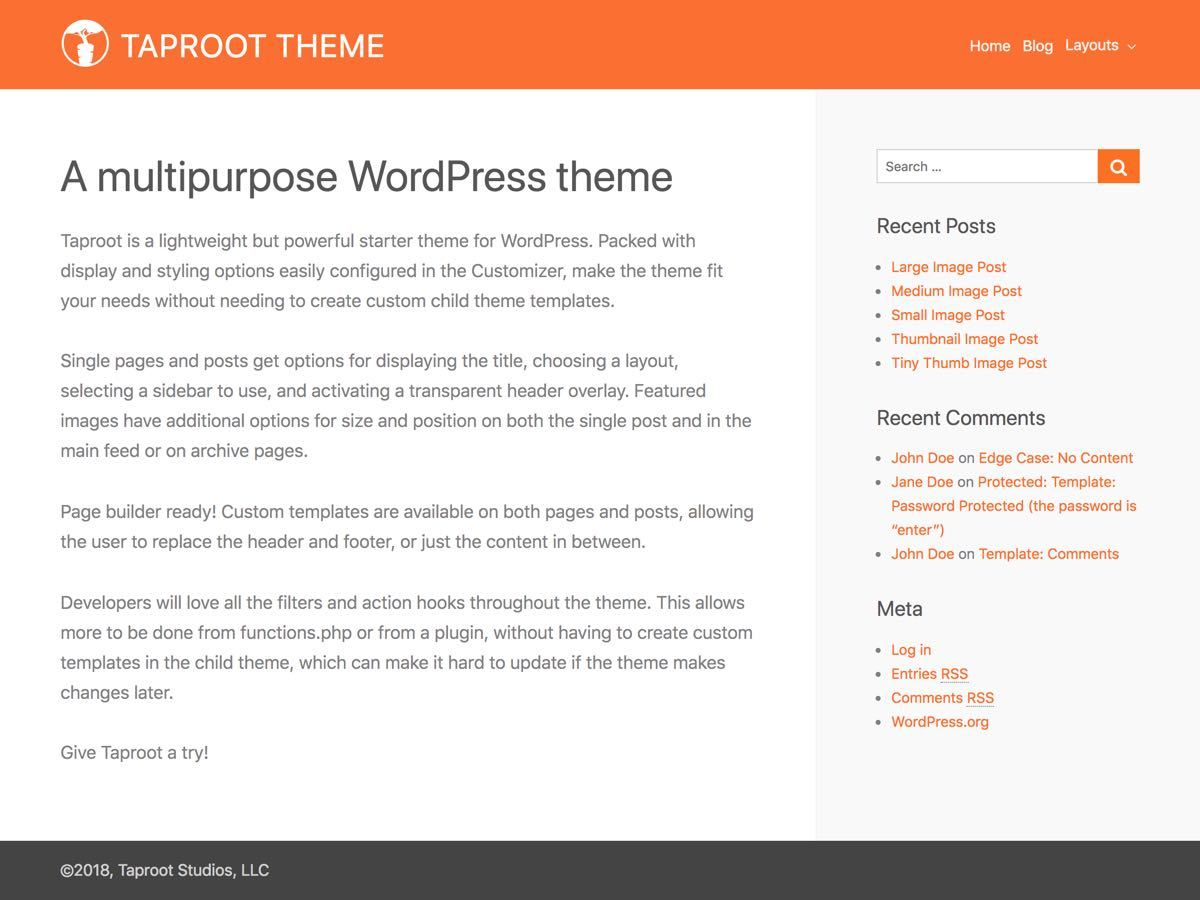 WP theme TapRoot