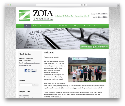 Customized WordPress website template - zoiaaccounting.com