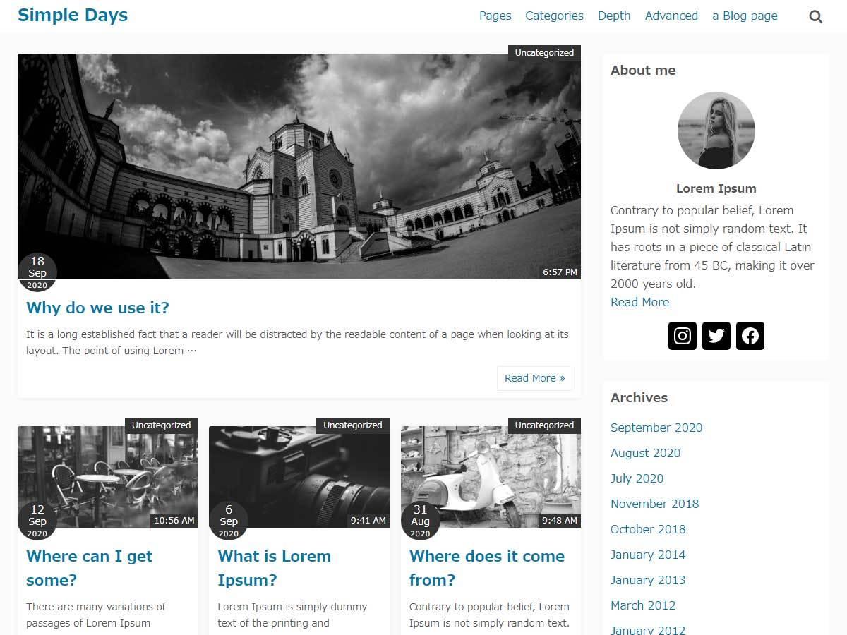 Simple Days WordPress blog template