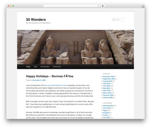 Twenty Eleven free WordPress theme - 30wonders.com