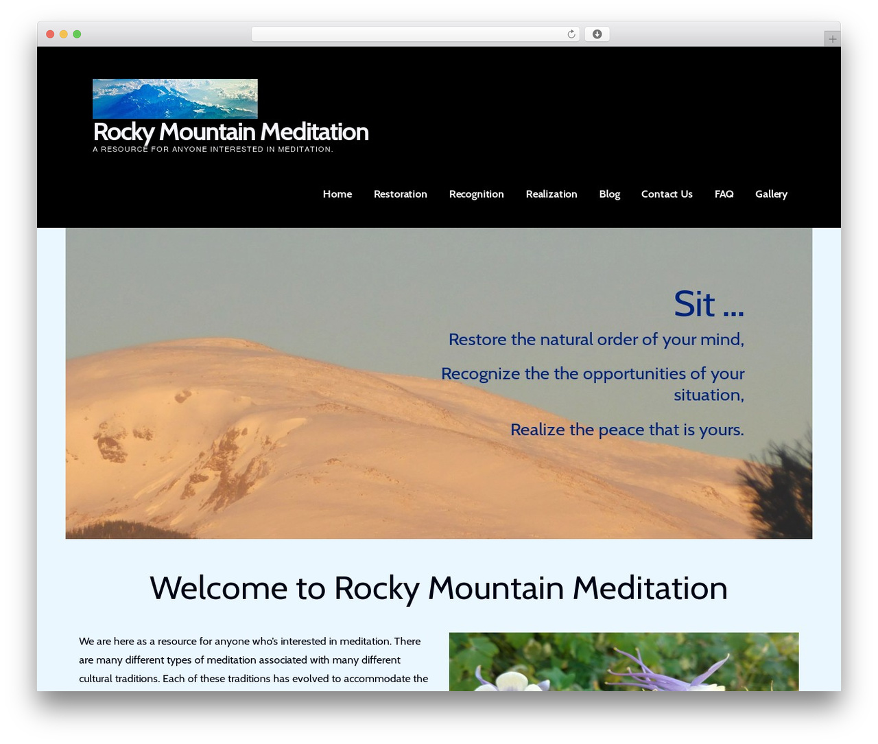 Ascension best WordPress theme - rockymtnmeditation.com