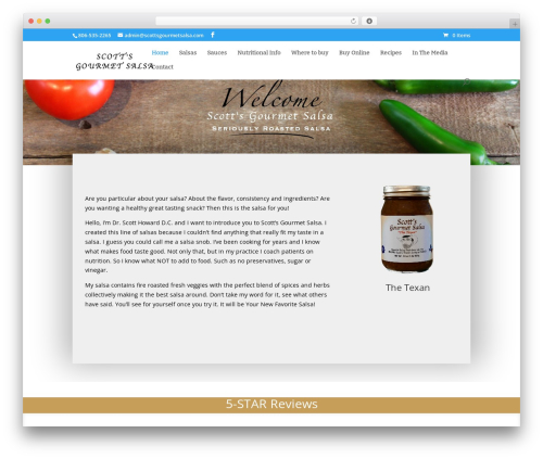 Divi WordPress theme - scottsgourmetsalsa.com