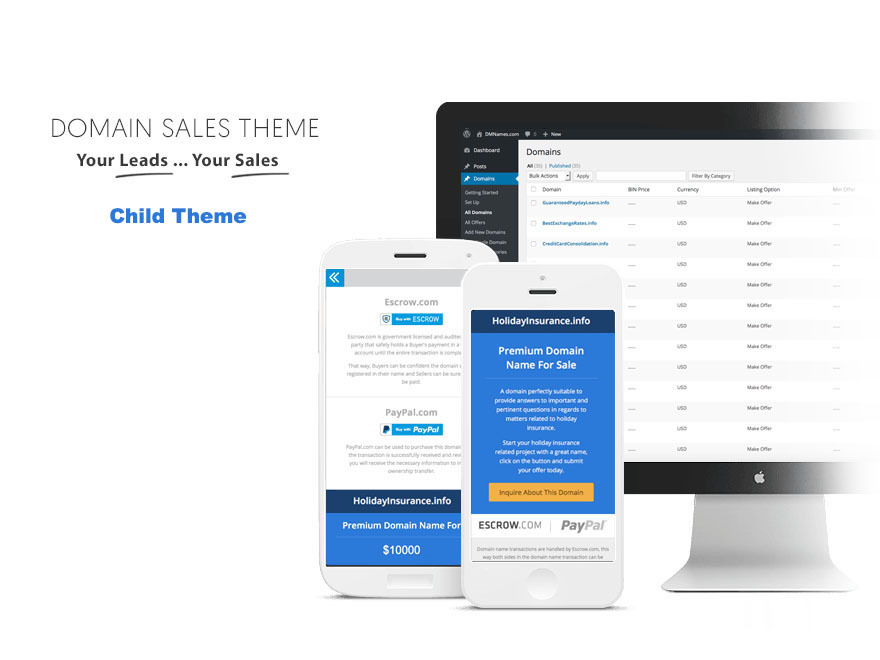 Domain Sales Child Theme best WordPress theme
