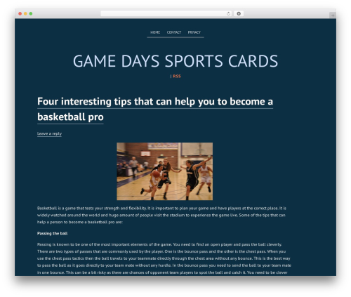 Deep Sea WordPress template free - gamedaysportscards.com
