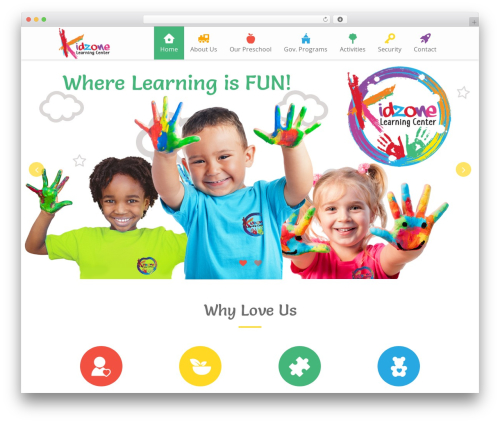 Kiddie WordPress page template - kidzone-learningcenter.com