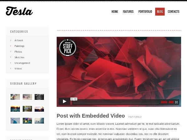 Tesla personal WordPress theme