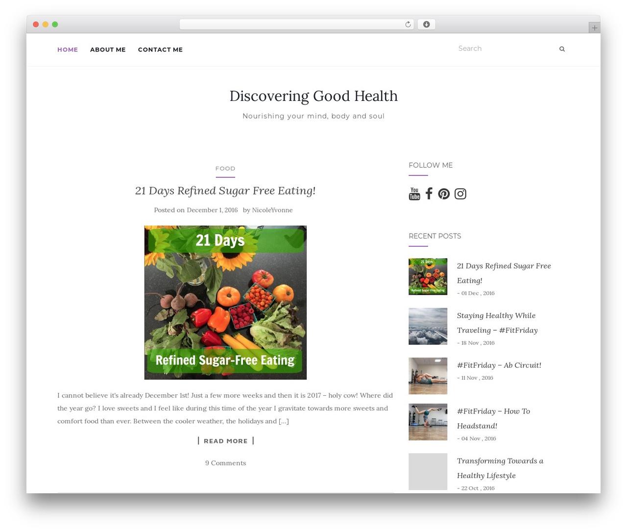 Activello free WordPress theme - discoveringgoodhealth.com