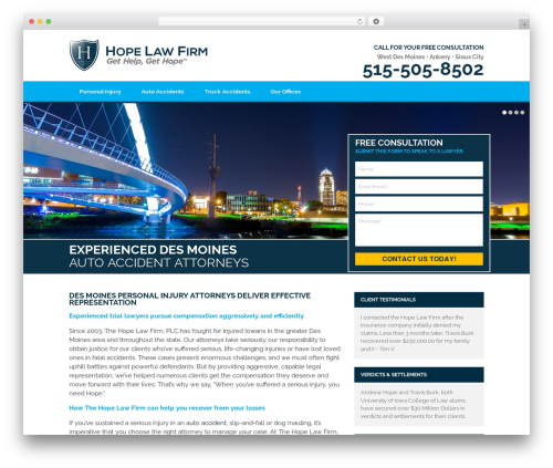 Hope Law Firm P.L.C. - Personaly Injury - PPC WordPress theme - desmoinesaccidentattorney.com
