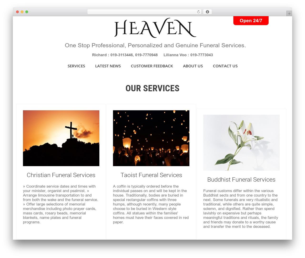 SKT White WordPress theme - heavenfuneralcare.com