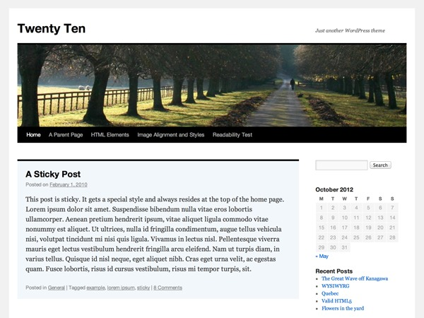 WordPress website template Twenty Ten