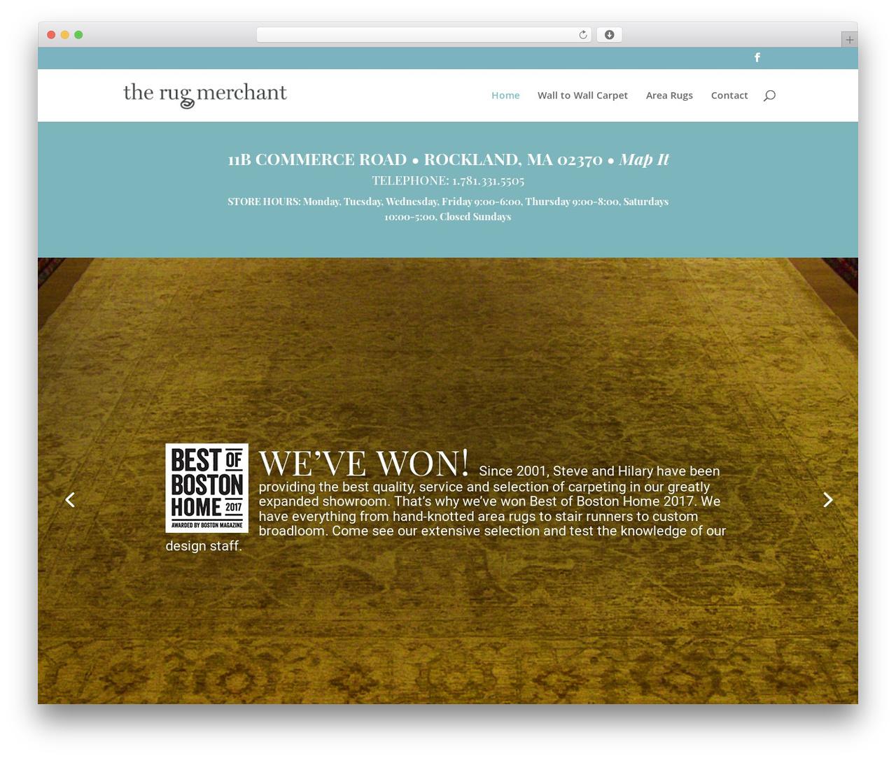 Divi WordPress theme - therugmerchant.com