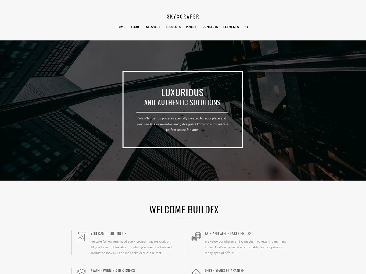 Skyscraper WordPress template for business