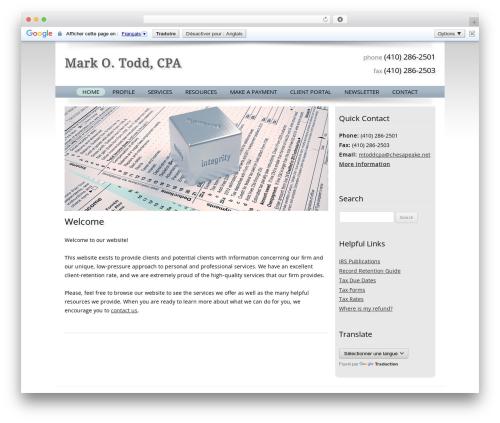 Customized business WordPress theme - mtoddcpa.com