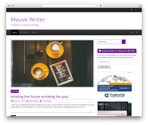 Creative Blog WordPress page template - mauvewriter.com