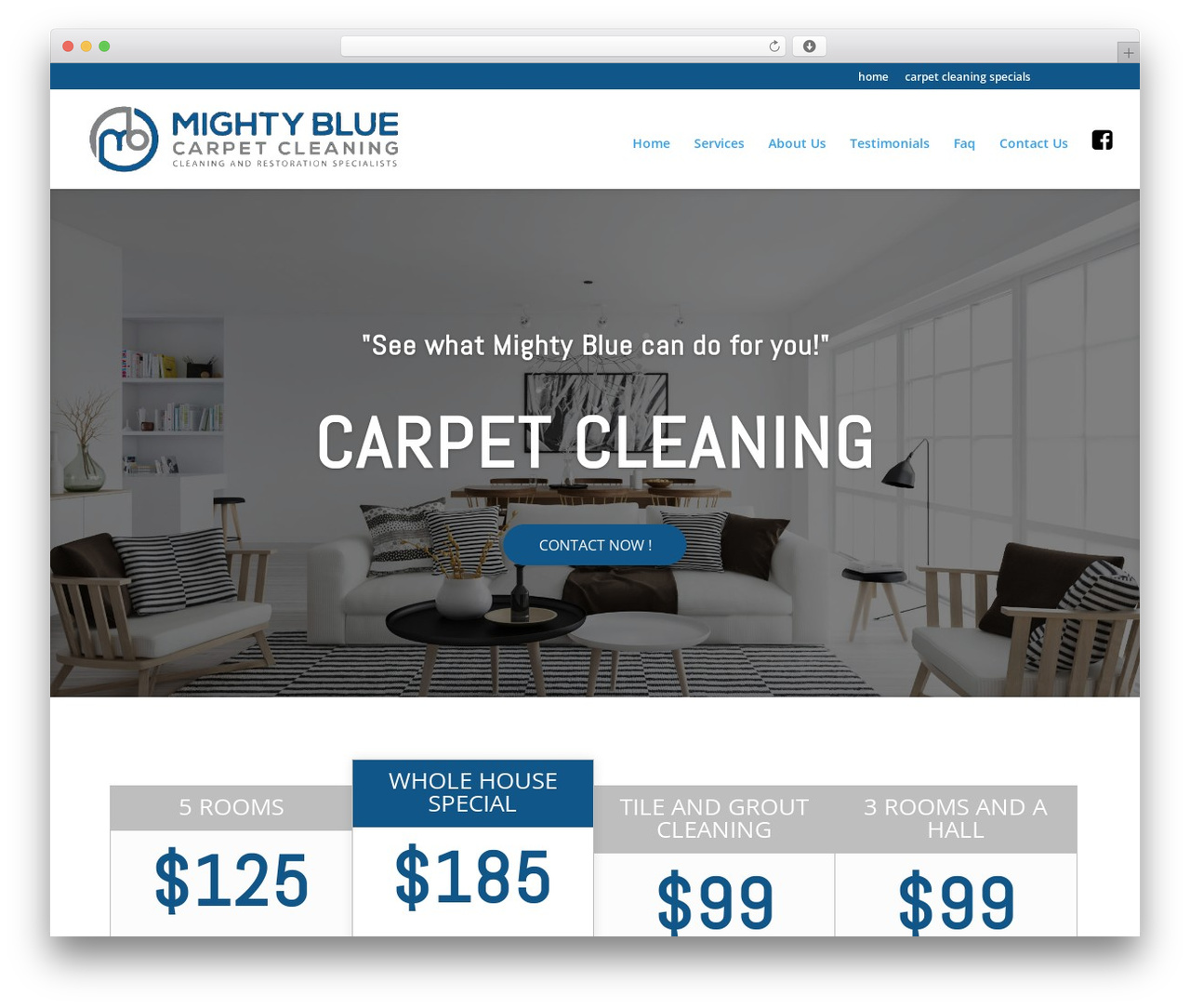 Divi WordPress theme - mightybluecarpetcleaning.com