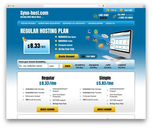 PHP Hosting company WordPress theme - syno-host.com
