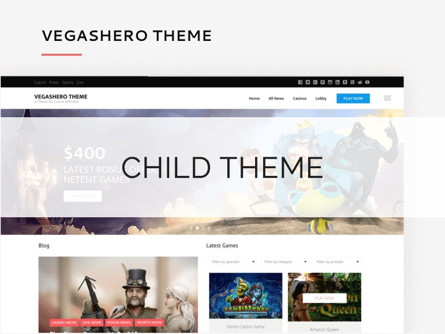 VegasHero Child Theme WordPress page template